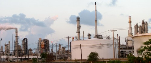 Chemical refinery picture in evening